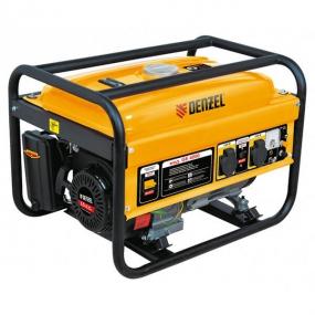 Генератор бензиновый GE 2500, 2,5 кВт, 220 В/50 Гц, 15 л, ручной старт Denzel 94681