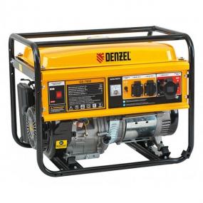 Генератор бензиновый GE 7900, 6,5 кВт, 220 В/50 Гц, 25 л, ручной пуск Denzel 94638
