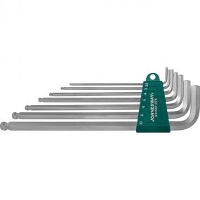 Комплект угловых шестигранников Extra Long с шаром 2,5-10 мм, S2, 7 шт. H06SM107S Jonnesway