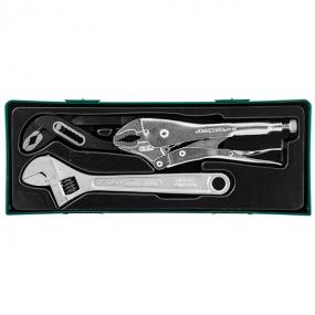 Набор инструмента: разводной ключ, ручные тиски, переставные клещи, 3 шт Jonnesway P2803ST