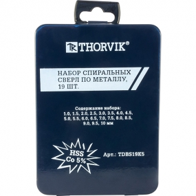 Набор сверл по металлу 1-10 мм, HSS-Co, 19 шт TDBS19K5 Thorvik 52898
