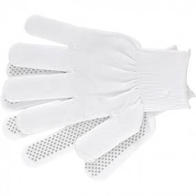 Перчатки Нейлон, ПВХ точка, 13 класс, белые, L Россия