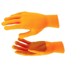 Перчатки Нейлон, ПВХ точка, 13 класс, оранжевые, XL Россия