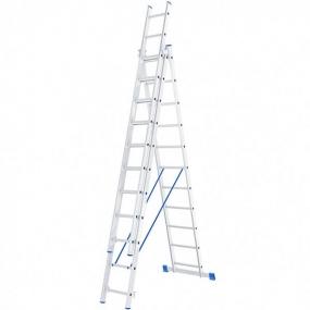 Лестница алюминиевая трехсекционная, 3 х 11 ступеней Сибртех 97821