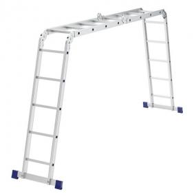 Лестница шарнирная алюминиевая, 2 х 4 + 2 х 5 Сибртех 97884